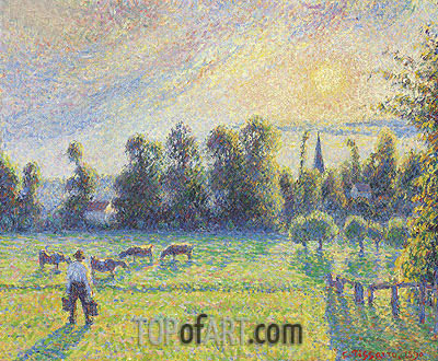 Pasture, Sunset, Eragny, 1890 | Pissarro | Painting Reproduction