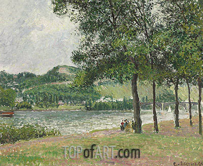 Le Cours-la-Reine a Rouen, Temps Gris, 1898 | Pissarro | Painting Reproduction