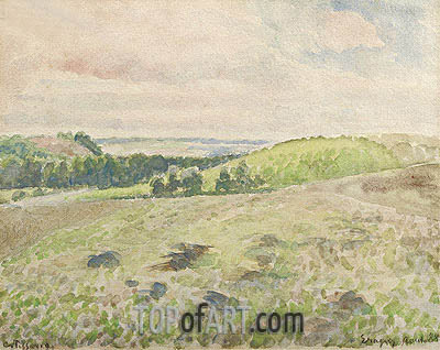 Plowed Ground, Eragny, 1888 | Pissarro| Painting Reproduction