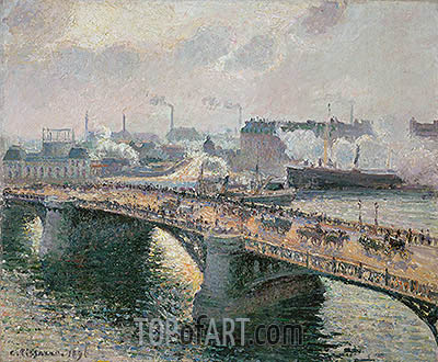Sunset over the Boieldieu-Bridge at Rouen, Brittany, 1896 | Pissarro| Painting Reproduction