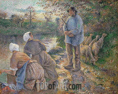 Shepherd and Washerwomen, 1881 | Pissarro | Painting Reproduction
