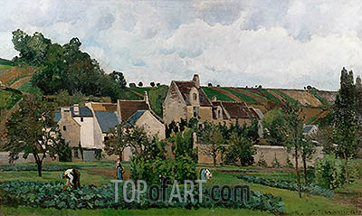 The Hermitage in Pontoise, 1867 | Pissarro| Painting Reproduction
