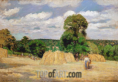 Harvesting at Montfoucault, 1876 | Pissarro | Painting Reproduction