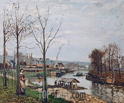 Port-Marly, the Wash-House, 1872 | Pissarro | Painting Reproduction