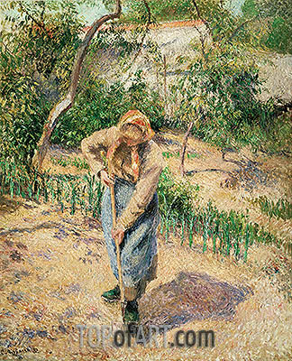 Peasant Digging, 1882 | Pissarro | Painting Reproduction
