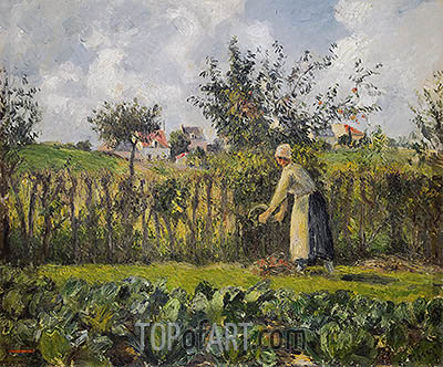 In the Kitchen Garden, 1878 | Pissarro| Painting Reproduction