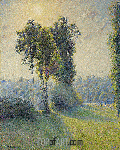 Landscape at Saint-Charles, near Gisors, Sunset, 1891 | Pissarro | Painting Reproduction
