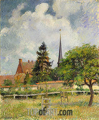 The Church at Eragny, 1884 | Pissarro| Gemälde Reproduktion