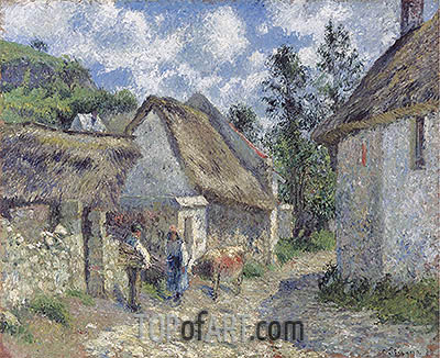 Rue des Roches in Valhermeil in Auvers-sur-Oise, Cottages and Cow, 1880 | Pissarro| Painting Reproduction