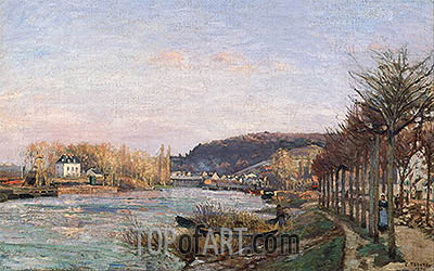 The Seine at Bougival, 1870 | Pissarro | Painting Reproduction