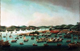 Hong Kong Harbour, undated by Cantonese School | Painting Reproduction