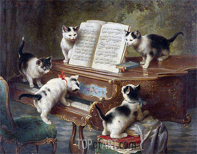 The Kittens' Recital, 1908 | Carl Reichert | Painting Reproduction