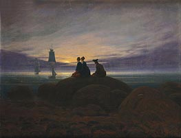 The Moon Rising over the Sea, c.1822 by Caspar David Friedrich | Painting Reproduction