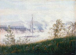 Boat on the River Elbe in the Early Morning Mist, c.1820 by Caspar David Friedrich | Painting Reproduction