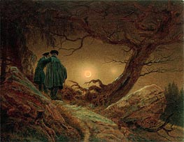 Two Men Contemplating the Moon, c.1819/20 by Caspar David Friedrich | Painting Reproduction
