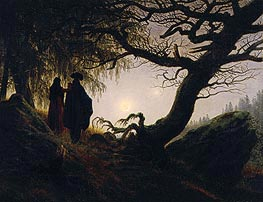 Man and Woman Contemplating the Moon, c.1824 by Caspar David Friedrich | Painting Reproduction