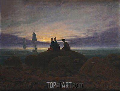 The Moon Rising over the Sea, c.1822 | Caspar David Friedrich| Painting Reproduction