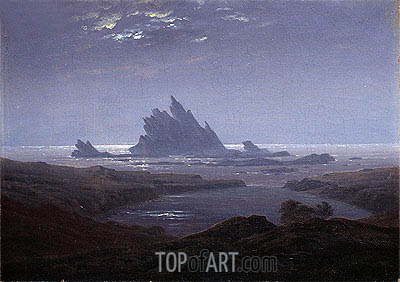 Rocky Reef on the Sea Shore, c.1824 | Caspar David Friedrich| Painting Reproduction