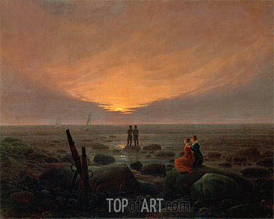 Moonrise over the Sea, 1821 | Caspar David Friedrich | Painting Reproduction