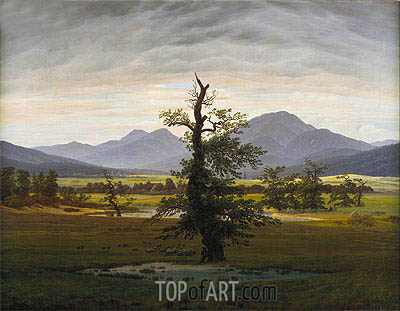 Village Landscape in Morning Light (The Lone Tree), 1822 | Caspar David Friedrich| Painting Reproduction