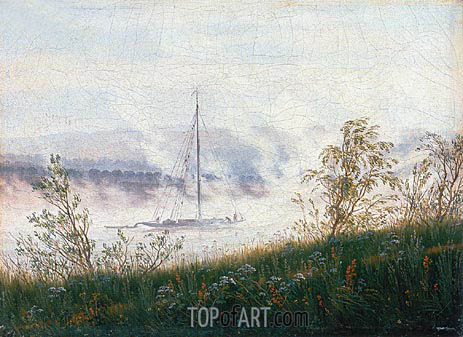 Boat on the River Elbe in the Early Morning Mist, c.1820 | Caspar David Friedrich | Gemälde Reproduktion