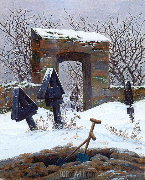 Graveyard under Snow, c.1826/27 | Caspar David Friedrich| Painting Reproduction