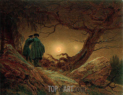 Two Men Contemplating the Moon, c.1819/20 | Caspar David Friedrich| Painting Reproduction