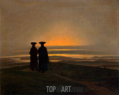 Sunset, Brothers (Evening Landscape with Two Men), c.1830/35 | Caspar David Friedrich | Gemälde Reproduktion