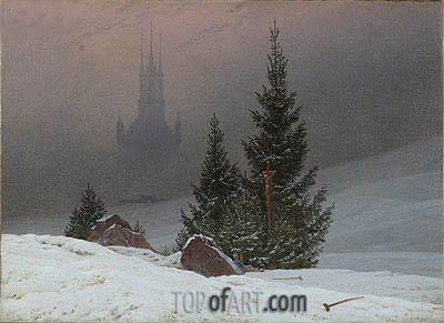 Winter Landscape with Church, 1811 | Caspar David Friedrich| Painting Reproduction