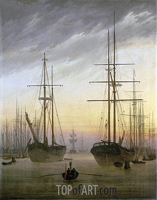 Caspar David Friedrich | View of a Harbor, c.1815/16