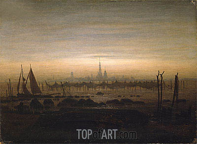 Greifswald in Moonlight, 1817 | Caspar David Friedrich| Painting Reproduction