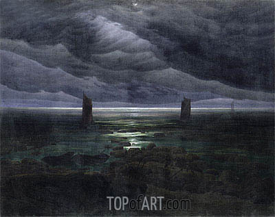 Sea Shore in Moonlight, c.1835/36 | Caspar David Friedrich | Gemälde Reproduktion