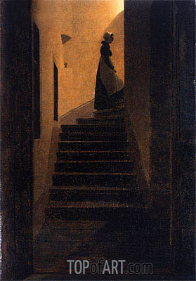 Caroline on the Stairs, 1825 | Caspar David Friedrich | Painting Reproduction