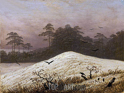 Snow Covered Hill with Ravens, undated | Caspar David Friedrich | Painting Reproduction