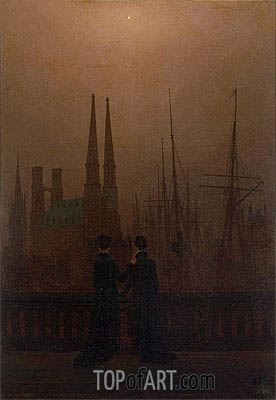 Night in a Harbour, c.1818/20 | Caspar David Friedrich | Painting Reproduction