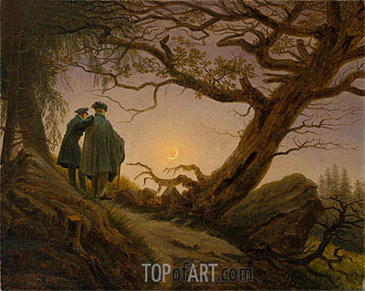 Two Men Contemplating the Moon, c.1825/30 | Caspar David Friedrich | Painting Reproduction