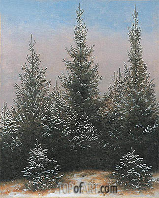 Fir Trees in the Snow, c.1828 | Caspar David Friedrich | Gemälde Reproduktion
