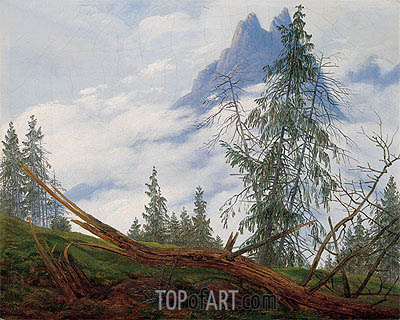 Mountain Peak with Drifting Clouds, c.1835 | Caspar David Friedrich | Painting Reproduction