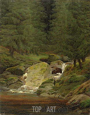The Evergreens by the Waterfall, undated | Caspar David Friedrich| Painting Reproduction