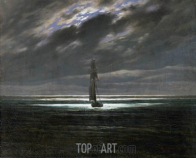 Seascape by Moonlight, c.1827/28 | Caspar David Friedrich | Gemälde Reproduktion