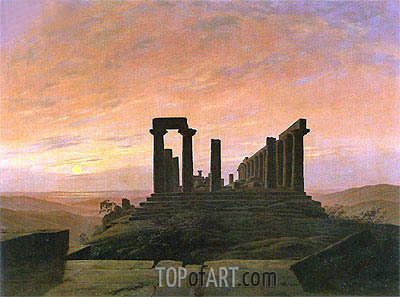 The Temple of Juno in Agrigento, c.1830 | Caspar David Friedrich | Gemälde Reproduktion