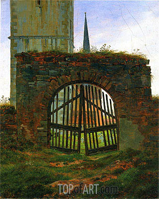 The Cemetery (Churchyard Gate), c.1825/30 | Caspar David Friedrich| Gemälde Reproduktion