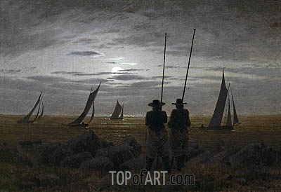 Moonlit Night on the Beach with Fishermen, 1817 | Caspar David Friedrich| Painting Reproduction