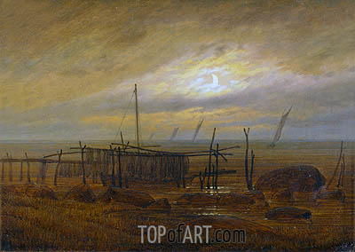 Seashore by Moonlight, 1818 | Caspar David Friedrich| Painting Reproduction