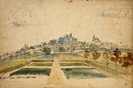 View of the Castle of Bensberg von Westen, House with Stairs, Fortress Wall with Gardens | Caspar Wolf | veraltet