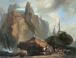 Mountain Landscape with Resting Climbers and a Painter | Caspar Wolf | Painting Reproduction