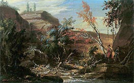 Rocky Landscape, Two Hikers in the Foreground | Caspar Wolf | Painting Reproduction
