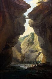 Bridge and Gorges of Dala River in Leuekerbad, View towards the Mountain, c.1774/77 von Caspar Wolf | Gemälde-Reproduktion