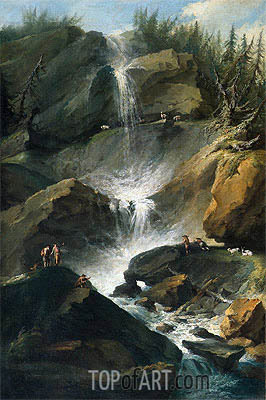 The Upper Staubbachfall in the Lauterbrunnen Valley, c.1774/77  | Caspar Wolf | Gemälde Reproduktion