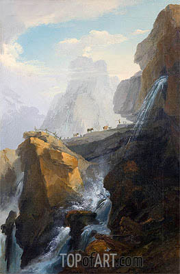 Landscape with Waterfall,  | Caspar Wolf| Painting Reproduction